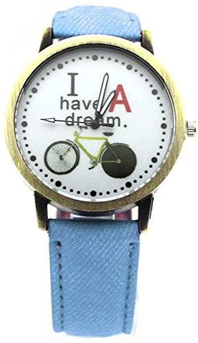 JWCN Cartoon Ich Habe einen Traum Fahrraddruck Quarz Time Pointer PU Leder Armbanduhr (Blau) Uptodate