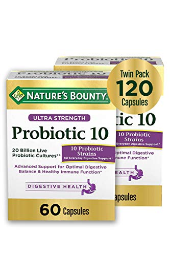 Ultra Strength Probiotic 10 by Nature's Bounty, Dietary Supplement, Advanced Support for Digestive Balance and Healthy Immune Function, 60 Count (Pack of 2)