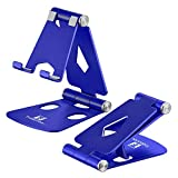 Adjustable Cell Phone Stand - ToBeoneer Phone Holder for Desk, [Dual Angle] Portable Small Size Desktop Dock Compatible with iPhone XR XS X 9 8 7 6 Plus Samsung Google, Office Home Dcor (Blue)