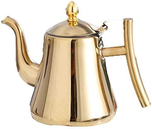 Tetera de acero inoxidable para restaurante y té hervido, fondo plano, hotel, hotel, hogar, set de té con filtro de espesor, taza de té Teekessel (tamaño : 1,5 L) (tamaño : 1 L)
