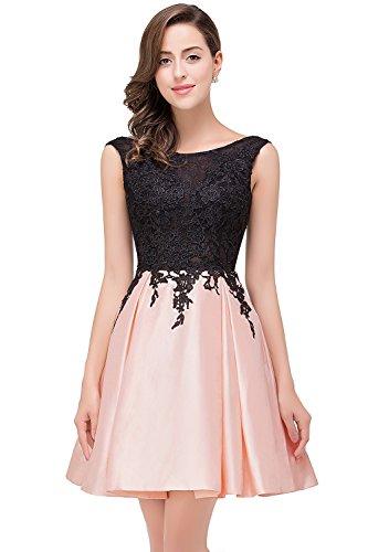 Babyonline Damen Abschlusskleider Blush Pink Elegant Abendkleid Cocktailkleid Knielang Festlich...