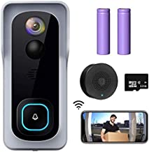 WiFi Video Doorbell Camera, XTU Wireless Doorbell Camera with Chime, 1080P HD, 2-Way Audio, Motion Detection, IP65 Waterproof, Cloud Storage and 32GB SD Card Included