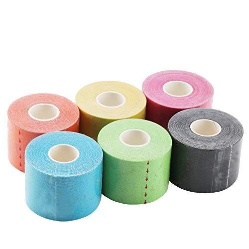 JUEYAN 6 Rollen Kinesiologie Tape 5 X 500 CM Sporttape Wasserdicht Elastisches Kinesiology Sport Tape Tapeverband aus Baumwolle
