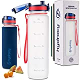 Hydracy Water Bottle with Time Marker - Large 1 Liter 32 Oz BPA Free Water Bottle - Leak Proof & No Sweat Gym Bottle with Fruit Infuser Strainer - Ideal for Fitness or Sports & Outdoors -White R&B