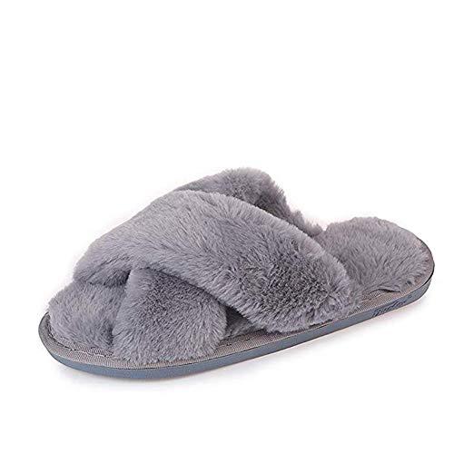 Gray Cross Slippers Fuzzy Fluffy Faux Fur House SPA Cute Open Toe Slippers for Women Girl/Women8-8.5 Men7-7.5