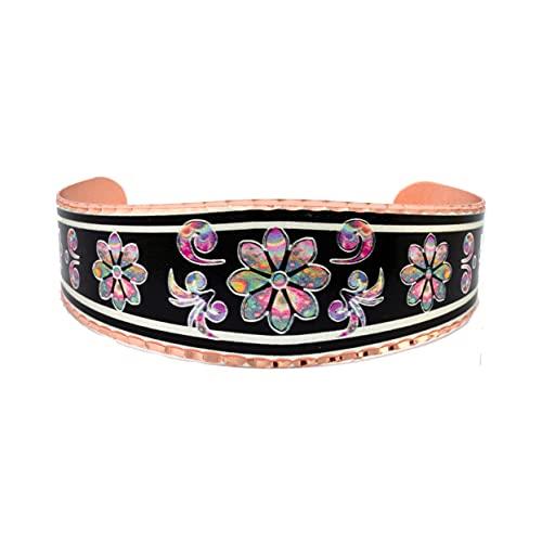 Pulseras artesanales de cobre con diseño de margaritas y margaritas de rayas con diseño de...