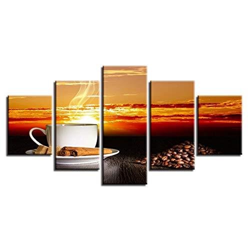 Swlyddm Leinwanddruck 5 Moderne Kunst Ölgemälde Gedruckt Wandbilder Wohnzimmer Hauptdekorationen ations Fertig zum Aufhängen - Kaffeetasse Sonnenuntergang Landschaft