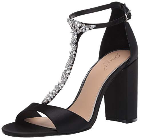Jewel Badgley Mischka Women's BENTON Sandal, Black Satin, 6.5 M US
