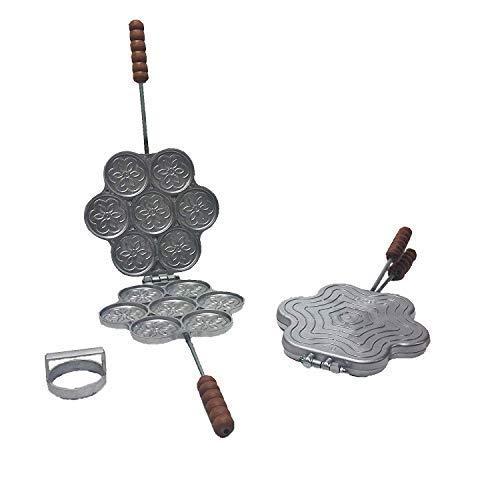 Fonderia Bongiovanni Tigelliera 7 posti in Alluminio con tagliapasta per Tigella o crescentina + ricetta Cucina