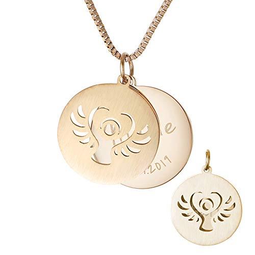 Gravado Kette mit 2 Anhängern aus Gold-Edelstahl, Kreis und Engel, Inkl. Geschenkbox, Personalisiert mit Namen und Datum, Damen Schmuck, Länge ca. 55 cm