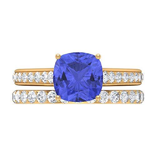 Anillo solitario de corte cojín, juego de anillos de novia de oro, piedras preciosas de 2,88 ct, anillo de tanzanita D-VSSI Moissanite 8 mm, anillo de compromiso catedral, 18K Oro amarillo, Size:EU 62