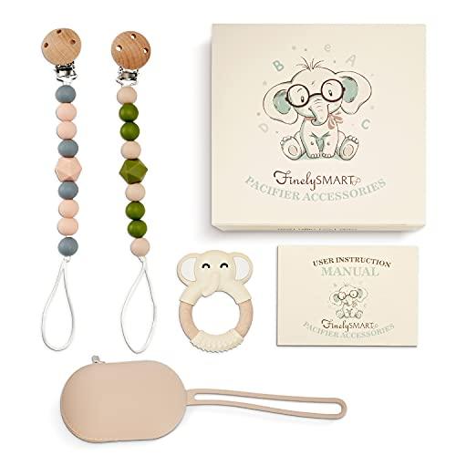 Paci Clips, Funda para chupete y paquete de juguetes para niños pequeños – Juego de accesorios para chupete para niños y niñas hecho de silicona amigable para bebés – Diseñado y probado por padres en los Estados Unidos