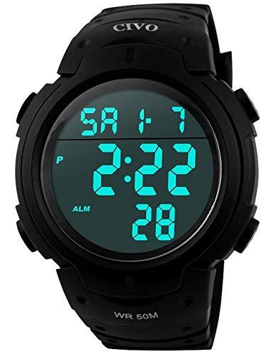 CIVO Reloj deportivo informal para hombr, multifuncional, militar, Resistente al agua, diseñ, LCD Back Light Relojes de pulsera electrónica, Negro