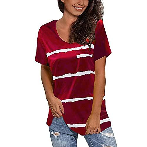 Camiseta Mujer Verano Básico Rayas Redondo Manga Corta Tops Mujer Dobladillo Aberturas Decoración De Bolsillo Moda Casual Cómoda Blusa Mujer B-Red XXL