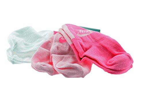 NIKE 3P LTL KDS GRPH HI-QTR - Pack de 3 Pares de Calcetines de Tiempo Libre y Sportwear para bebé, Talla M, Color Blanco/Rosa/Rosa cálido
