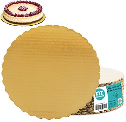 [20 unidades] 12 pulgadas redondas para tartas – cartón desechable para tartas, pizza, círculo festoneado dorado tarta decoración soporte de base