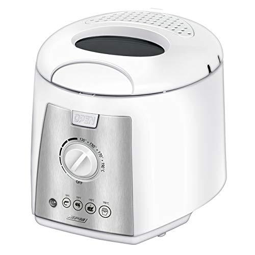 MPM MFR-07 Kompakte elektrische Friteuse 1,5 Liter waschbare Antihaft-Schüssel, Regler bis 190°C, frei von BPA, 1100W, 1200, 1.5 liters, White
