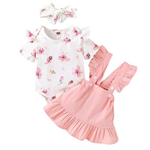 Puseky, Set di vestiti per neonato, per bambine da 0-18 mesi, con tutina con volant con motivo floreale + gonna con bretelle + fascia per i capelli bianco e rosa. 6-12 Mesi