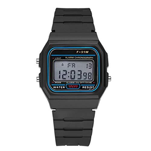 Multifuncional impermeable Digital Sports Relojes inteligentes con luz LED (negro)
