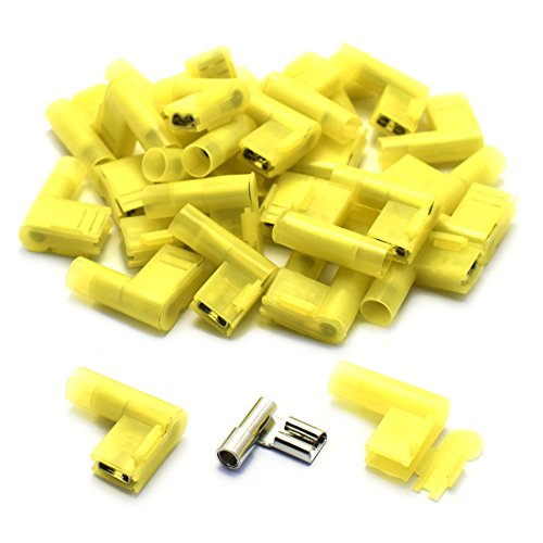 DZS Elec 30pcs A.W.G. 12-10 24A Fully Insulated Flag Wire Connector Quick Disconnects Electrical Wiring Female Spade Nylon Wire Crimp Terminal
