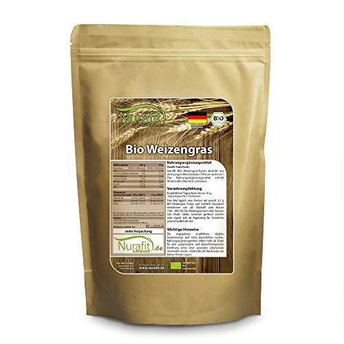 Nurafit Weizengras Pulver BIO | in Deutschland angebaut, verarbeitet und BIO zertifiziert | 500g / 0.5kg zertifizierte Spitzenqualität | Für leckere Smoothies und Bowls | rein natürlich