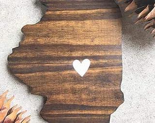 Not Branded Illinois, Illinois recortado, Estado recortado, Estado cortado madera, letreros de madera