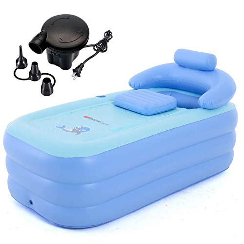 Sibosen Inflatable Bathtub for Adults, Portable Freestanding Bath for Home Foldable Blow Up Spa Soaking for Single Person or Compliment Bathroom Shower with Electric Air Pump