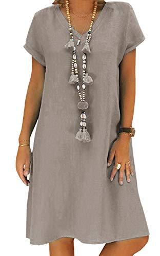 Yidarton Sommerkleid Leinen Kleider Damen V-Ausschnitt Strandkleider Einfarbig A-Linie Kleid Boho Knielang Kleid Ohne Zubehör(Grau,XL)