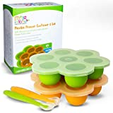 Silicone Baby Food Freezer Trays + Lids & Spoons by MOJE MAMA (Set of...