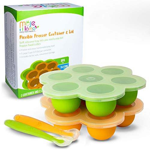 Silicone Baby Food Freezer Trays + Lids & Spoons by MOJE...