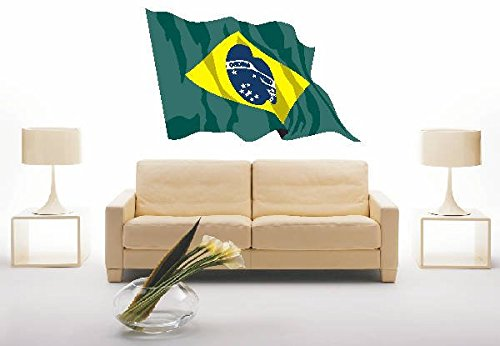 INDIGOS UG - Wandtattoo Wandsticker Wandaufkleber Aufkleber ls27 Brazil - Brasilien 40 cm farbig bunt als Fahne