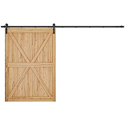 "SMARTSTANDARD 12ft Heavy Duty Sturdy Sliding Barn Door Hardware Kit - Smoothly and Quietly - Easy to Install - Includes Step-by-Step Installation Instruction Fit 72"" Wide Door Panel(I Shape Hanger)"