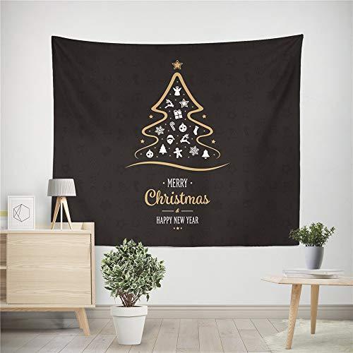 Scrolor Wand Gobelin Weihnachten Tapisserie Wandbehang Gardinen Werfen Decke Multi Farbe Hause Neujahr Festival Dekoration(Kaffee,150 * 100cm)