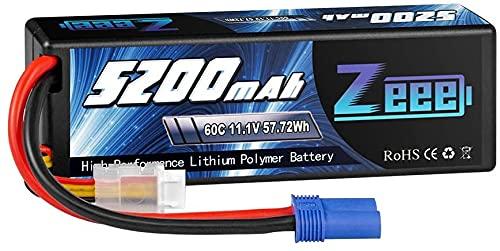 Zeee 3S LiPo Batería 11.1 V 60C 5200 mAh Estuche rígido Batería con Enchufe EC5 para Coche RC, Avión RC, Helicóptero RC, Hobby RC