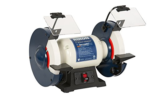 "Rikon Professional Power Tools, 80-805, 8"" Slow Speed Bench Grinder, Powerful Shop Table Tool, Perfect for Sharpening, With Anti-Vibration Rubber Feet"