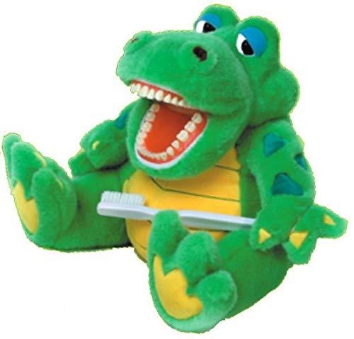 Zahnkönige | Große Plüschtier Handpuppe Puppe Krokodil | Mit Riesenzahnbürste & Wasser Spucken | ca. 40-50cm | Zahnarzt Kinder Deko