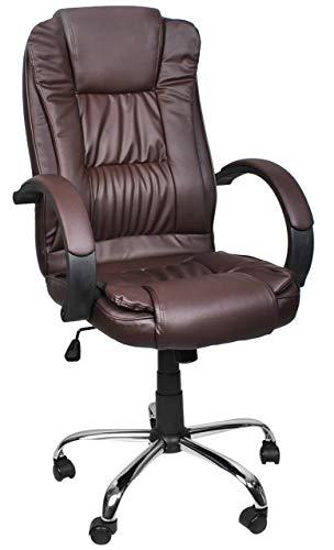 MALATEC Bequeme Bürostuhl Chefsessel Drehstuhl Ergonomischer Schreibtischstuhl mit Kunstlederbezug Schwarz/Weiß/Braun 8983, Farbe:Braun