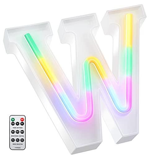 Luces LED de Letras Coloridas, Señal de Neón de 26 Alfabeto Luces de Número de Marquesina con Control Remoto Lámparas de Brillo Alimentadas por 2 Pilas AAA para Pared de Hogar ( Letra W)