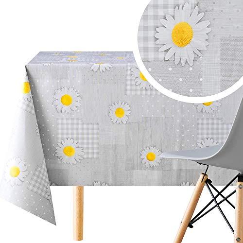 KP HOME Abwischbare Tischdecke mit Gänseblümchen-Motiv, Patchwork-Steppdecke, rechteckig, 200 x 140 cm, für Tische bis zu 6 Sitzplätze, schweres, wasserdichtes Wachstuch, PVC-Tischdecke in Grau
