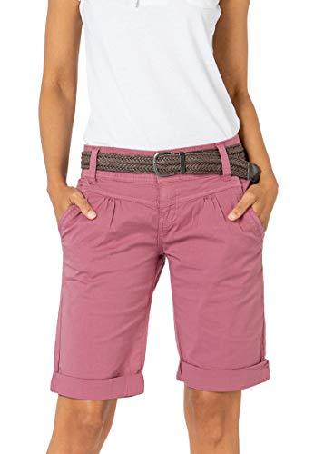 Fresh Made Basic Bermuda-Shorts im Chino Stil mit Gürtel Dark-Rose L