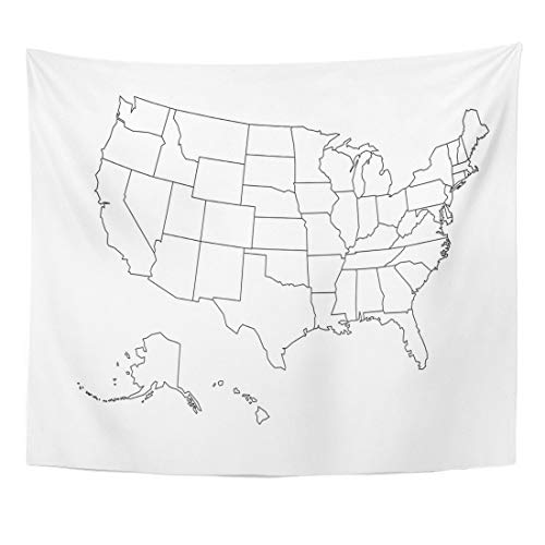 JOOCAR Black and White Map Tapestry State Blank Outline Map of USA United States Home Decor Wall Hanging Tapestries for Living Room Bedroom Dorm (59.1' x 78.7')