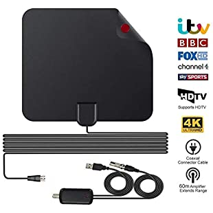 TV Aerial, Indoor TV Aerials for Digital Freeview, Amplified 60+ Miles Long Range Access Freeview Indoor Aerials Support 4K 1080P HD/VHF/UHF Freeview Channels & Local【Newest Version】