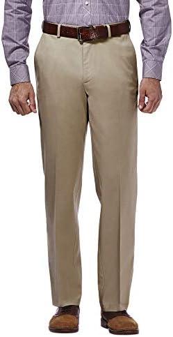 Haggar mens Premium No Iron Khaki Classic Fit Expandable Waist Flat Front Pant Khaki 38Wx29L product image