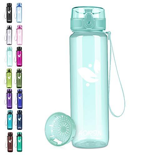 AORIN Bottiglia Acqua, Borraccia Sportiva 1 Litro Bottiglia a Prova di Perdite Senza BPA Plastica Borracce Riutilizzabile per Adulti, Viaggio, Palestra, Ciclismo, Sport all' Aperto