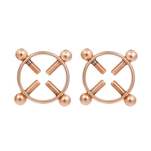 Festnight 1 Paar Nicht Piercing Einstellbare Nippel Ringe für Frauen Kreis Nippelklemmen Edelstahl Körper Dekor mit Schrauben