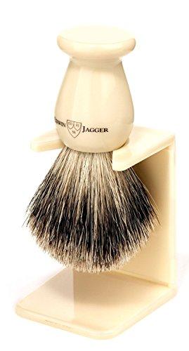Edwin Jagger Best Badger Shaving Brush With Drip Stand, Imitation Ivory, Medium