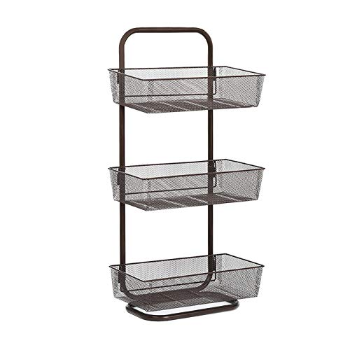 NEX Upgrade Over the Door Basket Organizer, 3-Tier Mesh Basket Hanging Storage Unit Over Door Pantry Rack Organizer(Dark Brown)
