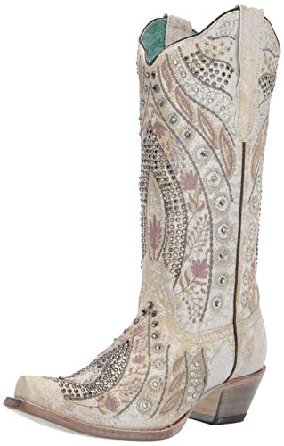 Corral Ld White Floral Embroidery & Crystals & Studs ,Size 9