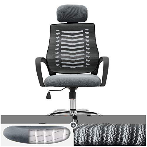 JRPS Sedia da Ufficio ergonomica 4 Tipi Di Cuscino Poltrona Sedia con Schienale Alto Base in Acciaio Zebra Mesh Ruote Silenziose Solido/grigio/B