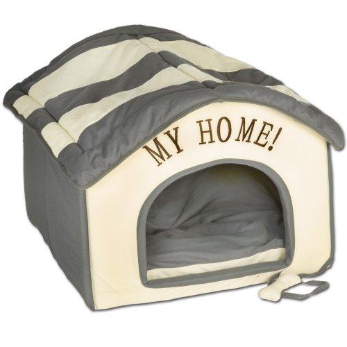 Wohnungs Hundehütte grau beige 60x60x50 cm Indoorhütte Die wunderschöne, plüschig-weiche Stoffhütte mit My Home- Stickerei ist EIN idealer Rückzugsort für kleine Hunde